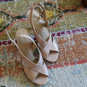 Michael Kors patent leather nude strappy heels